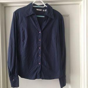 Zara Cotton Stretch V-Neck Button Down Shirt